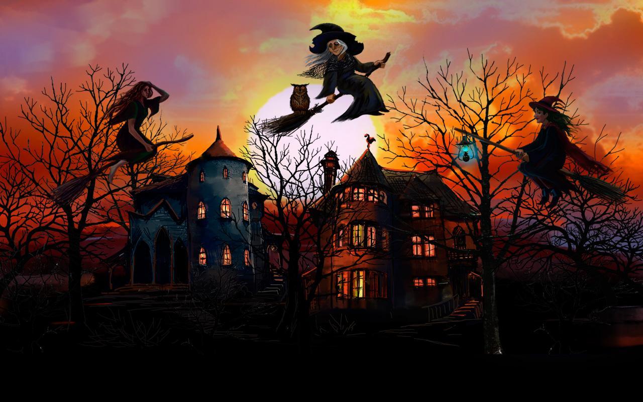 Animated Halloween Wallpaper Windows 7 Feliz Brujas De Halloween Aplicaciones De Android En