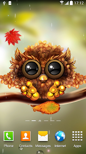 Fall Leaf Wallpaper For Mobile Autumn Little Owl Wallpaper Apps On Google Play