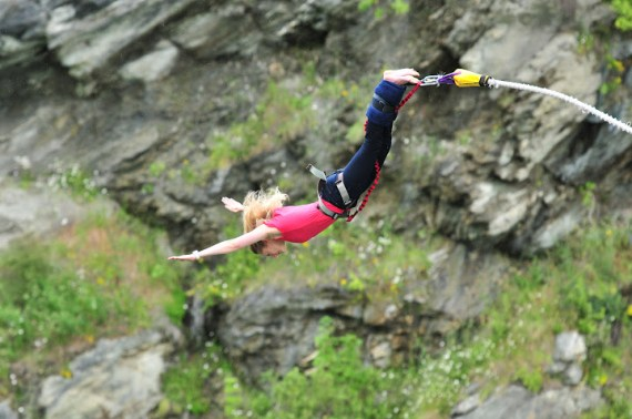 Bungy jumping off Kawarau Bridge