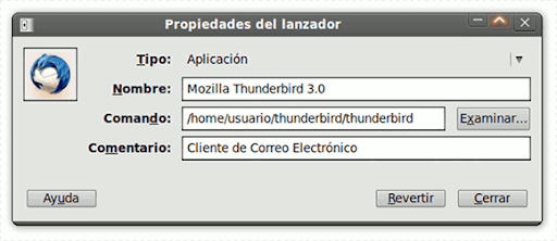 Thunderbird 3 Lanzador de Aplicaciones