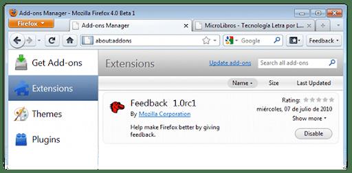 Nuevo Administrador de Extensiones de Firefox 4 Beta 1