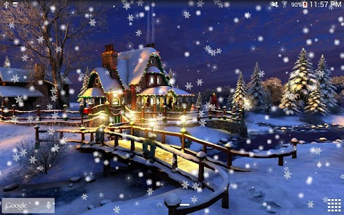 3d Snowy Cottage Animated Wallpaper Windows 7 Snow Night Live Wallpaper Hd Android Apps On Google Play