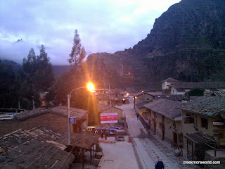 Ollantaytambo ruins and main street.  Our hotel, KB tambo is on the right.