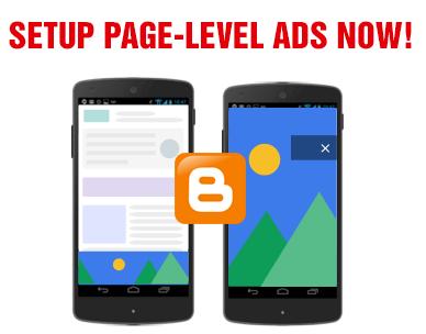 setup adsense page-level ads in blogspot blogs