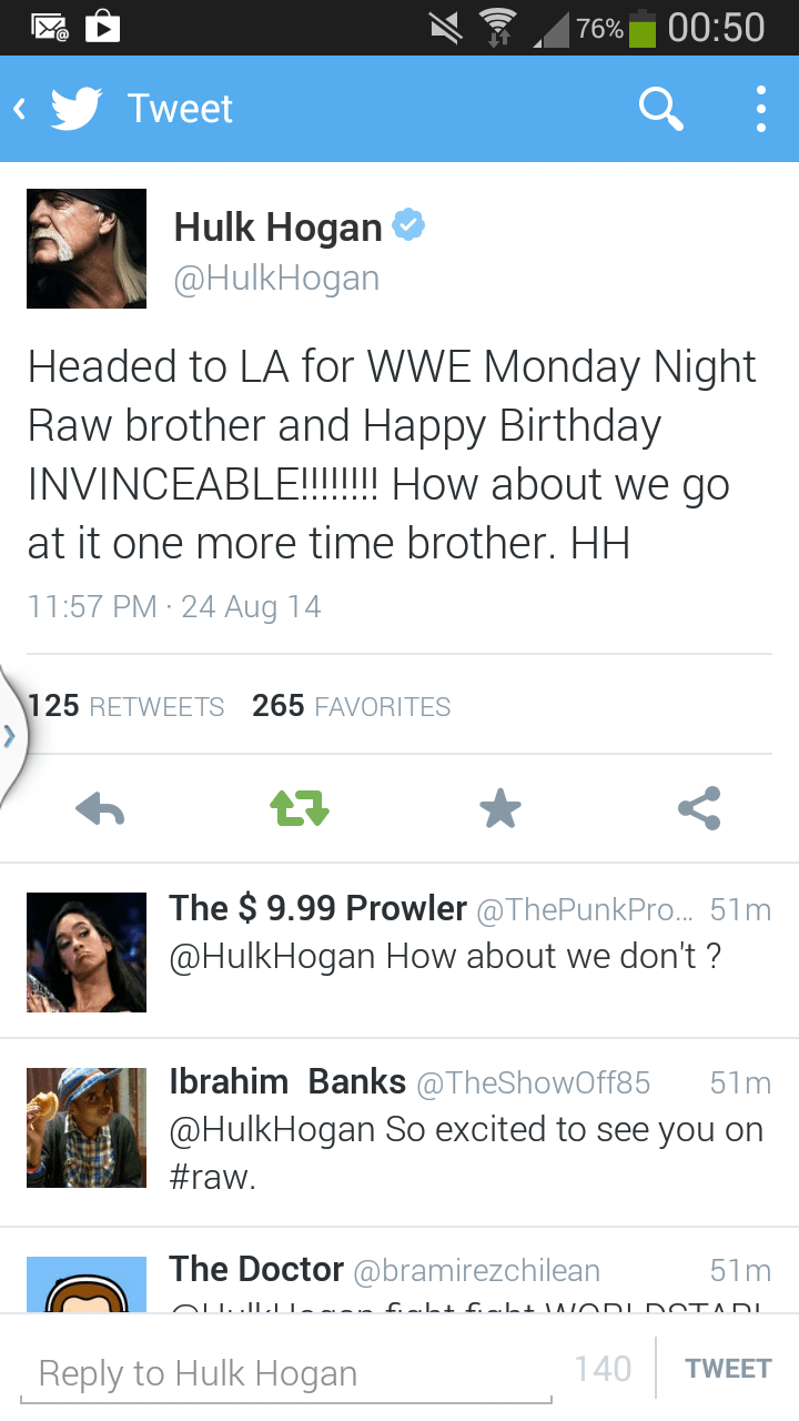 Hulk Hogan Twitter No Wrestling Spoilers Hogan On Raw Tonight