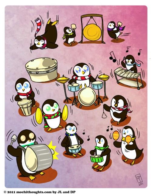 Cute Illustration, Twelfth Day of Christmas, Twelve Drummers Drumming