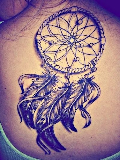 stenncil Dreamcatcher Tattoos on upper back ideas for girls
