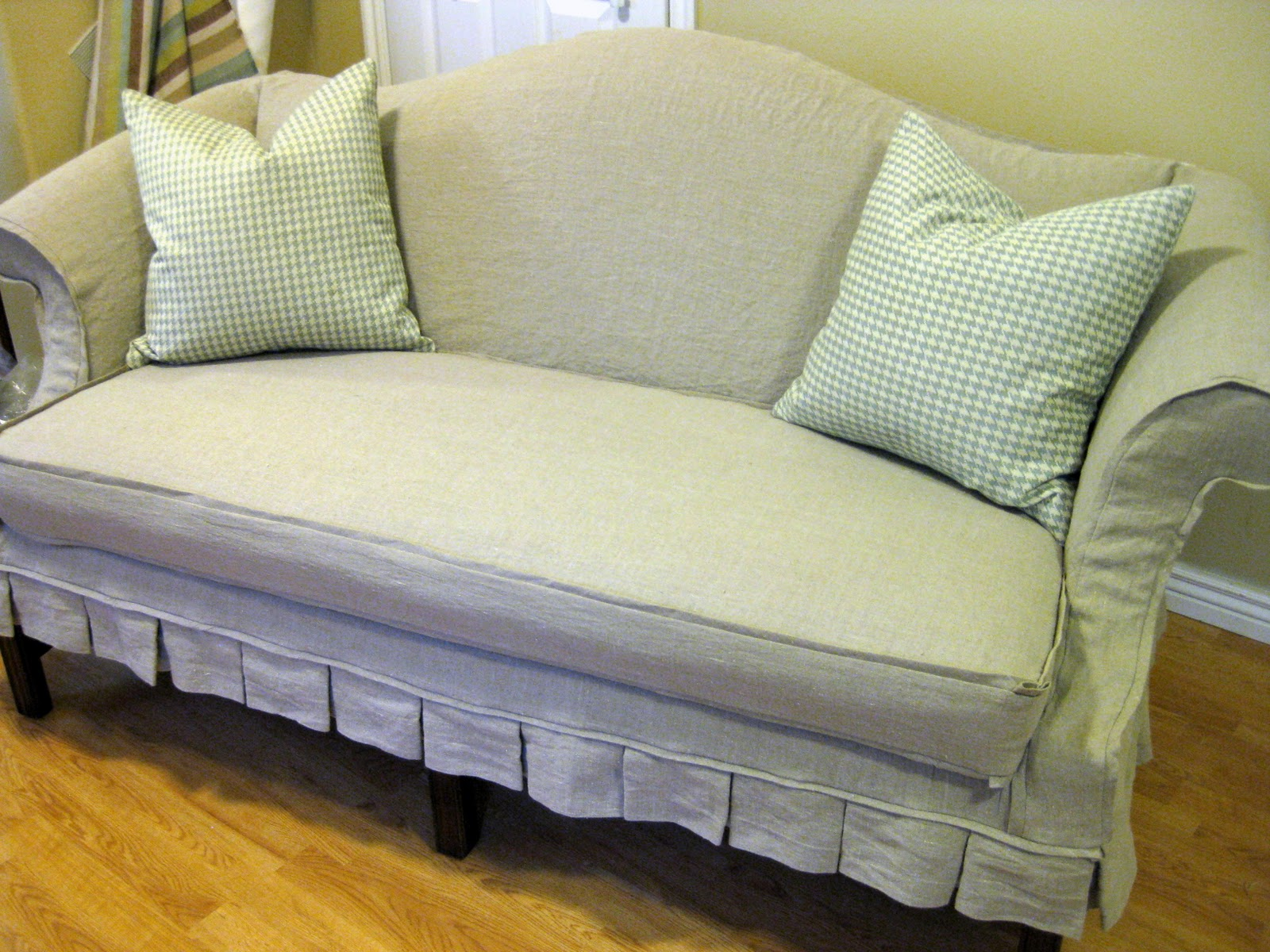 Sofa Welt Custom Slipcovers By Shelley Oatmeal Linen Loveseat With