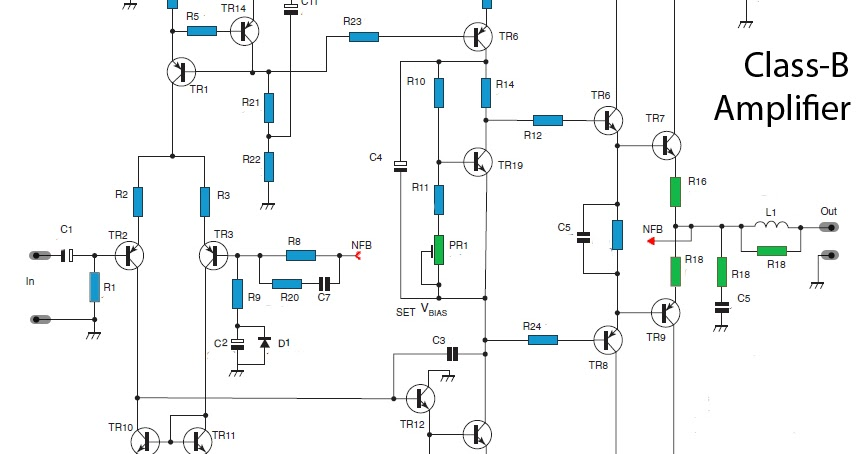 50w class b power amplifier circuit