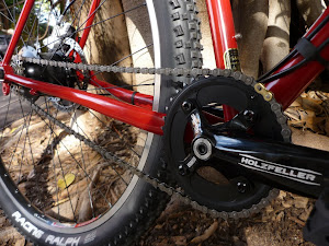 Truvativ Holzfeller cranks with a Howitzer BB. Equipped with a 38t chainring and tough as guts.