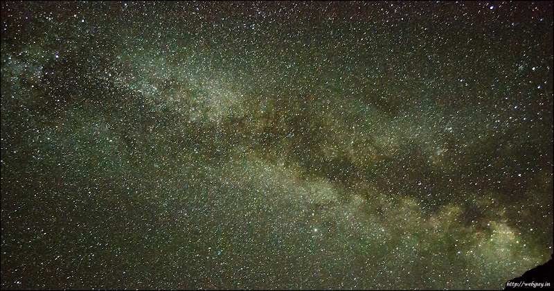 The Milky way as seen from the Himalayas at 14000 feet