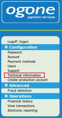 technical information menu