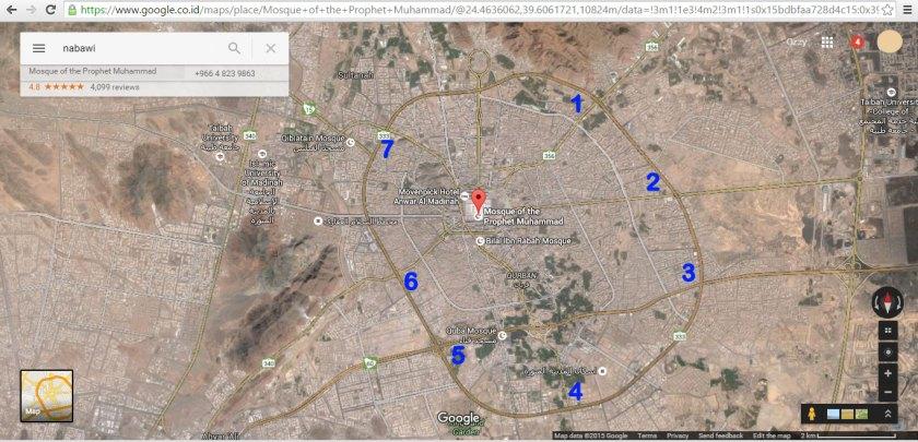 Gambar 7 Pintu Masuk Kota Madinah (Google Earth)