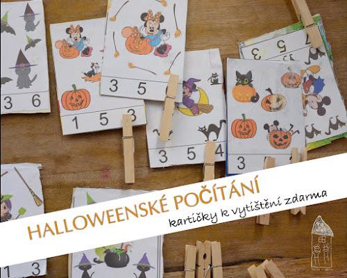 Halloween počítání kartičky k vytisknuti