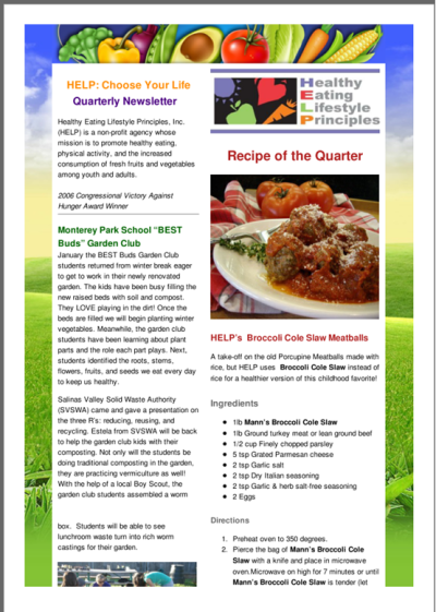 Healthy Eating Lifestyle Principles: HELP Quarterly Newsletter