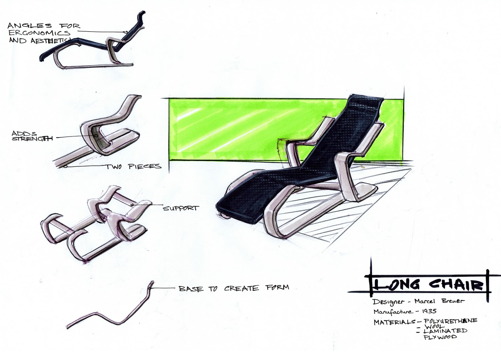 David Mcpherson Hd3d002 Marcel Breuer Long Chair