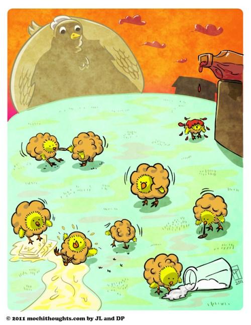 Cute Food, Illustration, Popcorn Chicken
