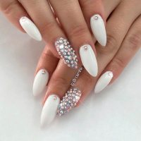 Top 65 Pretty White Nails With Glitter Shapes trendy ...