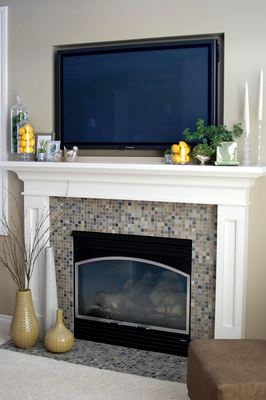 Fireplace Mantel Decor With Tv Remodelaholic Beautiful Spring Inspired Mantle By 33