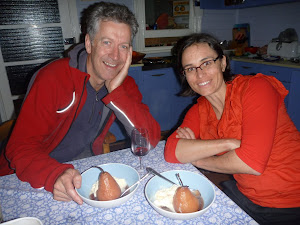 bruce ashley came over for dinner to give us some sweet info on new caledonia. jennifer made some sweet poached pears