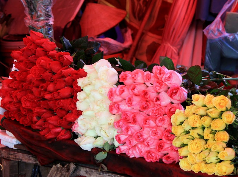 Colours pop from the flowers of Da Lat market