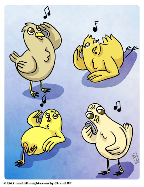 Cute Illustration, Fourth day of Christmas Four Calling Birds