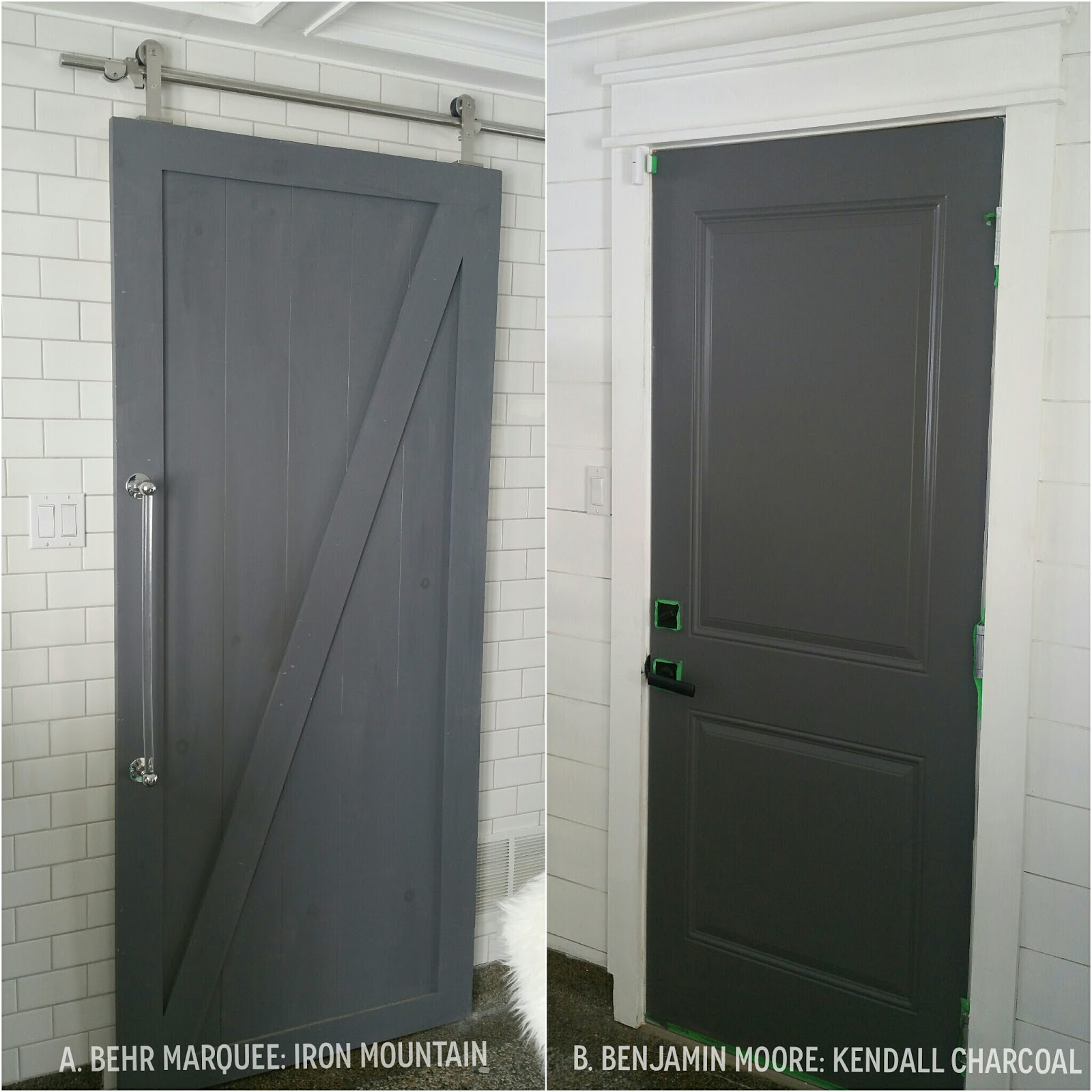 Painted Barn Doors The Perfect Dark Grey Paint And A Barn Door Makeover