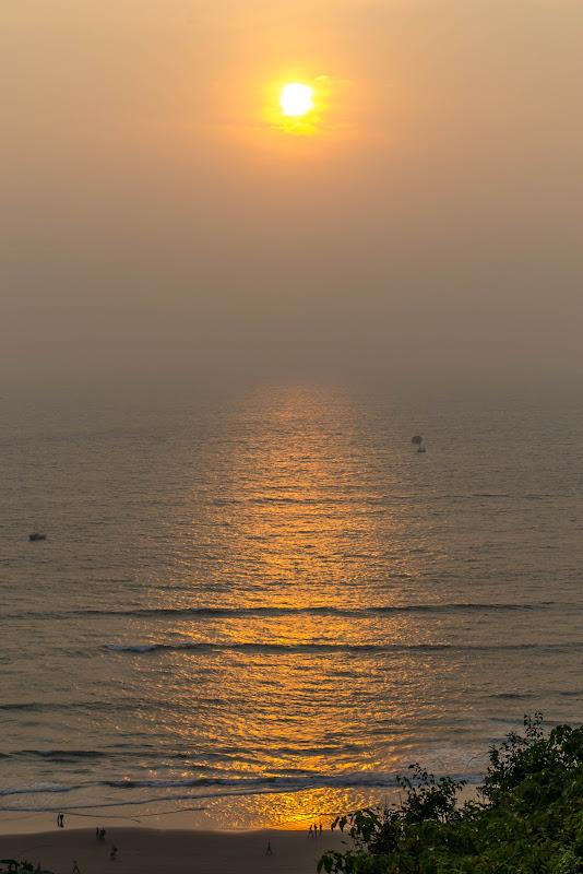 A gorgeous sunset at Vagator beach, Goa chapora fort