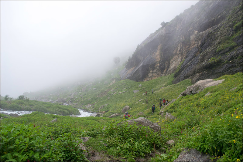 Walking in the fog, Chikka - Hampta Pass Trek