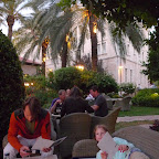 A hard-earned dinner at the outside grill restaurant of the American Colony Hotel