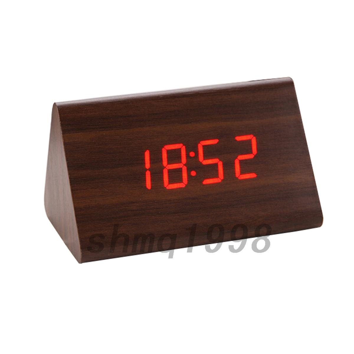 Small Led Alarm Clock Mini Wooden Clock Led Alarm Clock Orange Led White Oak