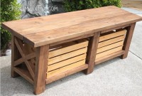 Rustic X-Leg Wooden Bench with Built-In Crate Storage made ...
