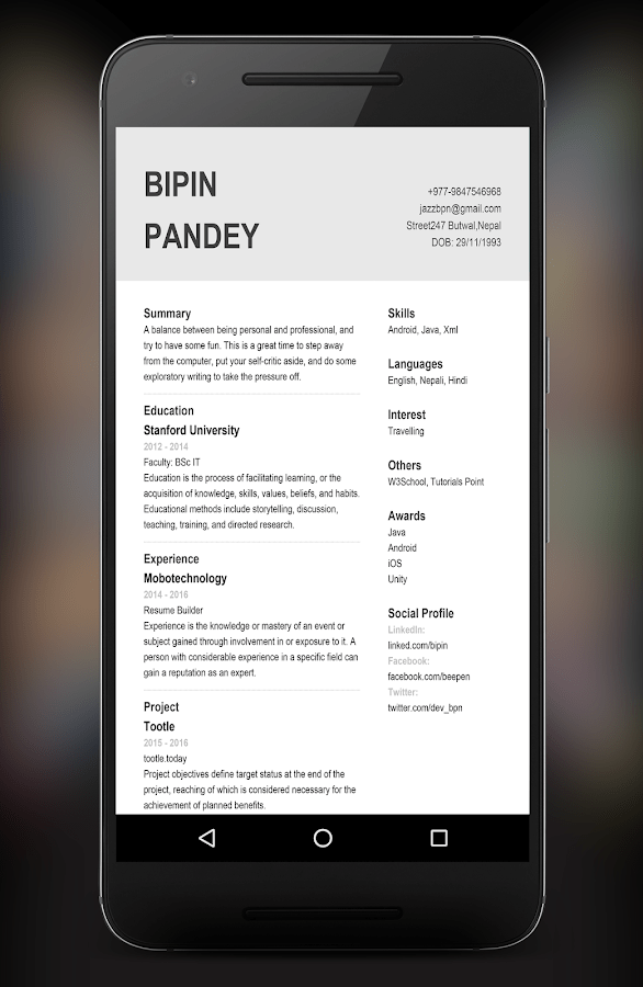 professional resume builder app