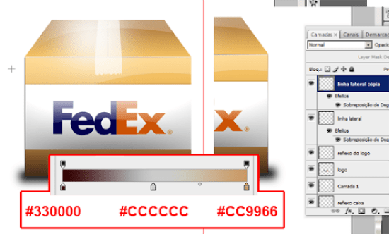 detalhe lateral na caixa