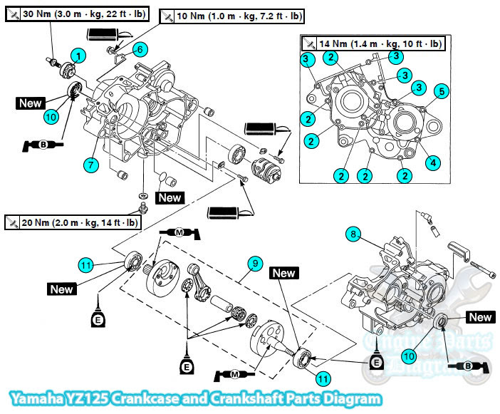 yz 125 engine diagram