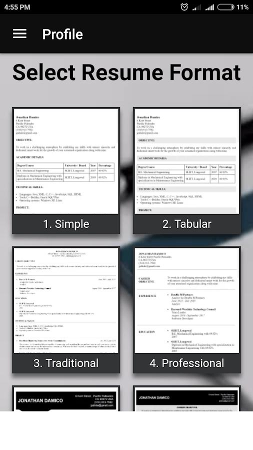 resume maker music