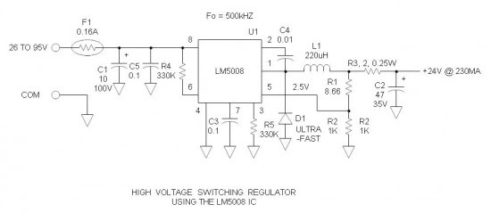 24v high voltage switching regulator with lm5008