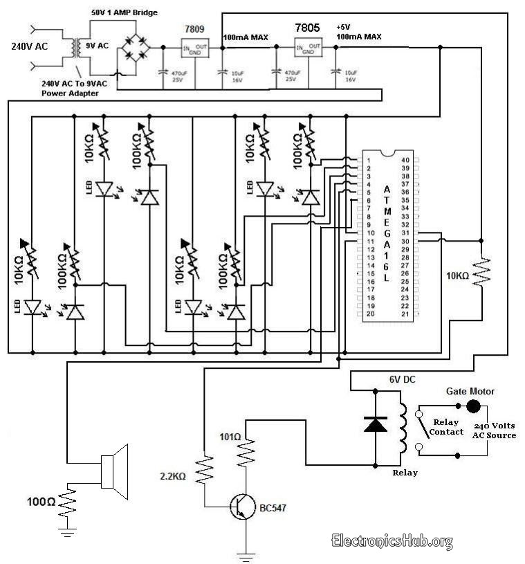 the schematic for the light alarm circuit is shown below
