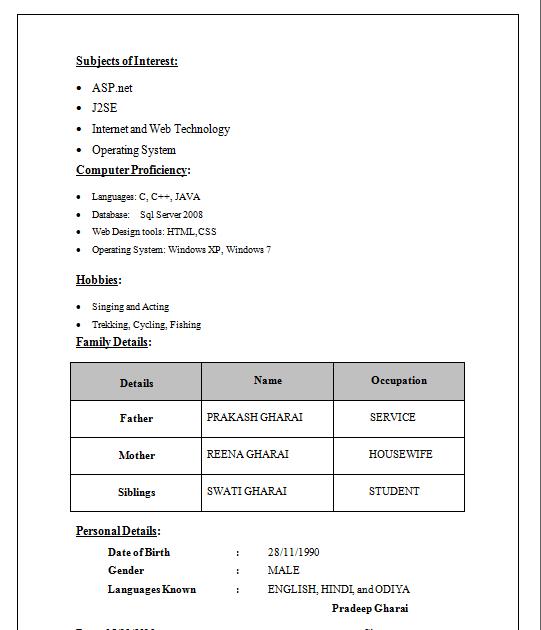 resume in word format in hindi