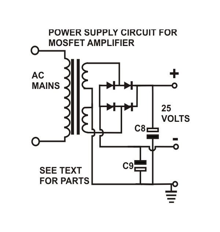18 watts mosfet amplifier circuit diagram