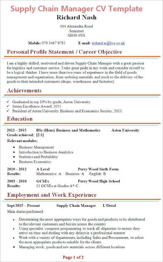cv anglais career objective