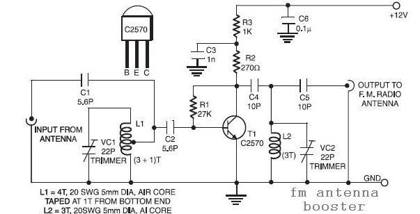 fm receiver antenna amplifier circuit diagram