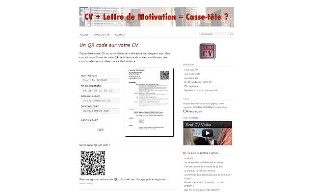 exemple de cv qr code