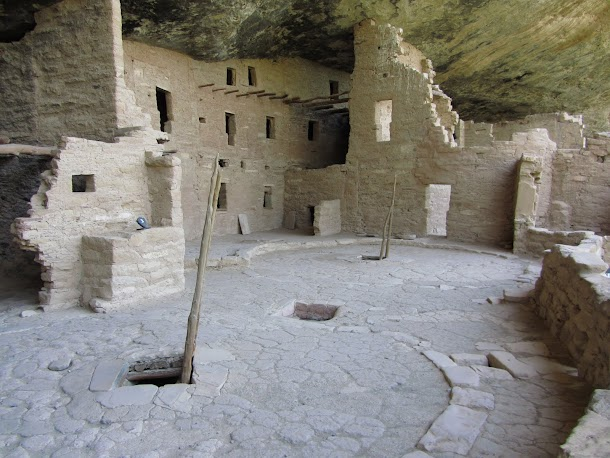 Ladders to Reconstructed Kivas in Spruce Tree House.JPG