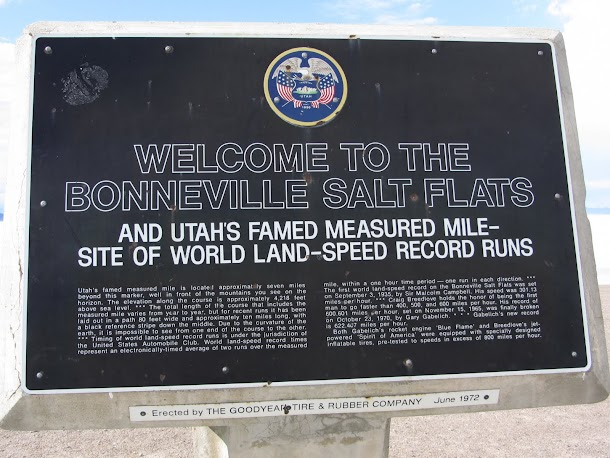 Bonneville Salt Flats Official Sign