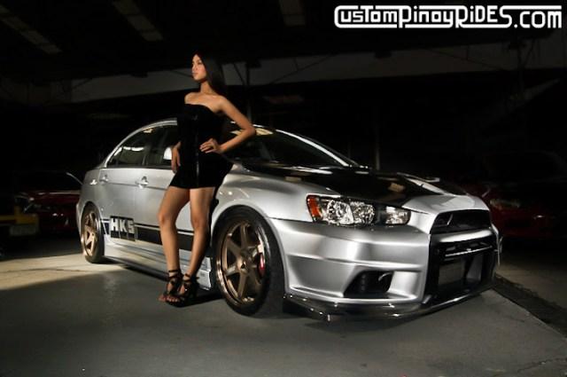 Evo X with model Custom Pinoy Rides