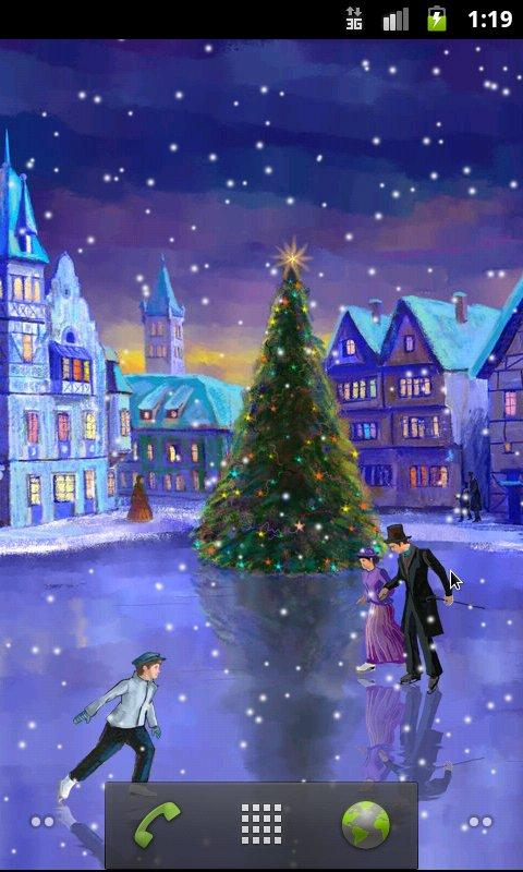 Falling Snow Live Wallpaper For Pc Christmas Rink Live Wallpaper Android Apps On Google Play