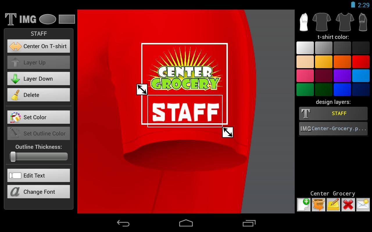 T shirt designer screenshot