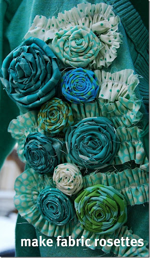 green sweater make rosettes