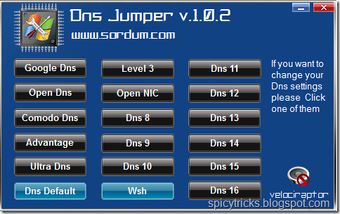 Change DNS settings Using DNS Jumper